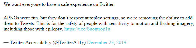 Заявление Twitter об отказе от анимированных изображений